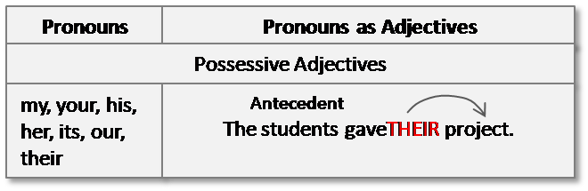 what is an adjective possessive pronouns