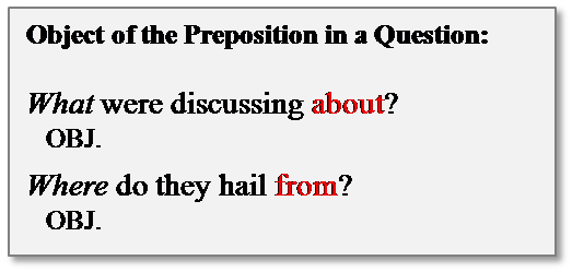 what is a preposition object