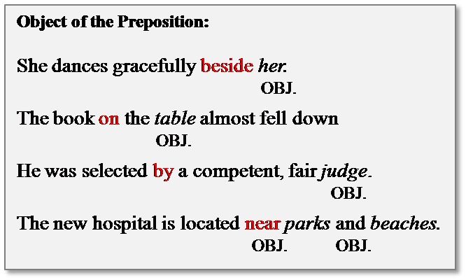 what is a preposition object of the preposition